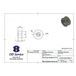 Plan / dimensions - Poulie synchrone GT2 sans dents diamètre 12mm pour axe 3mm - I3D Service