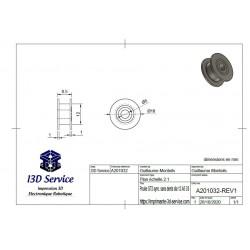 Plan / dimensions - Poulie synchrone GT2 sans dents diamètre 12mm pour axe 5mm - I3D Service